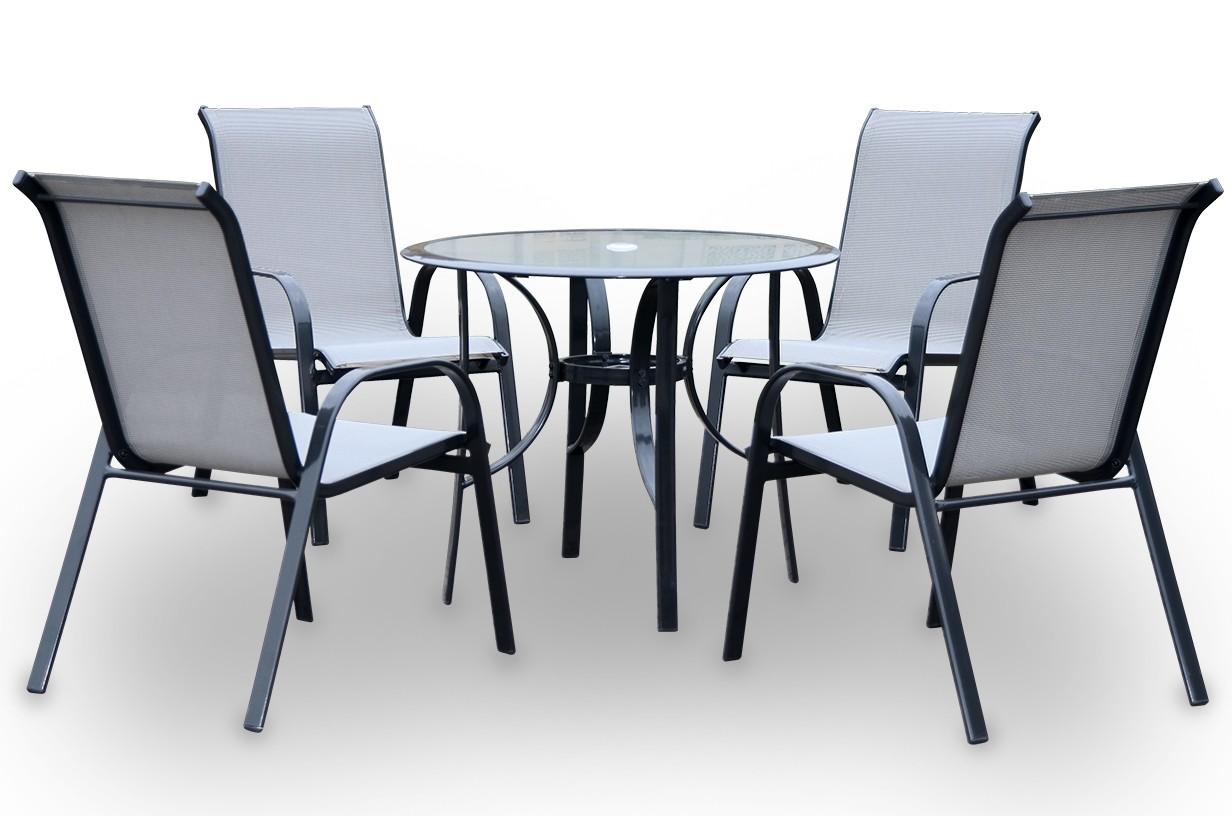 Conjunto de mesa circular + 4 sillones mod. Cairo
