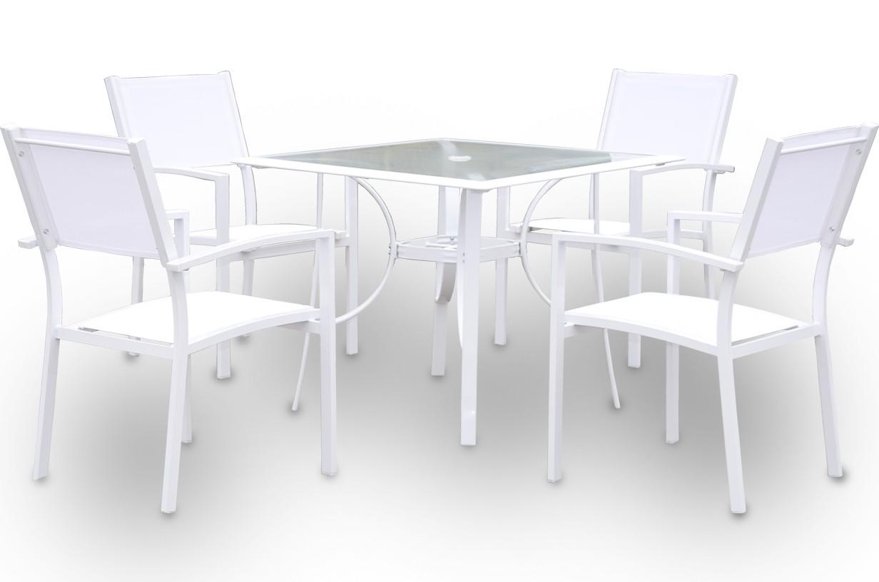 Conjunto de mesa cuadrada + 4 sillas mod. Casablanca