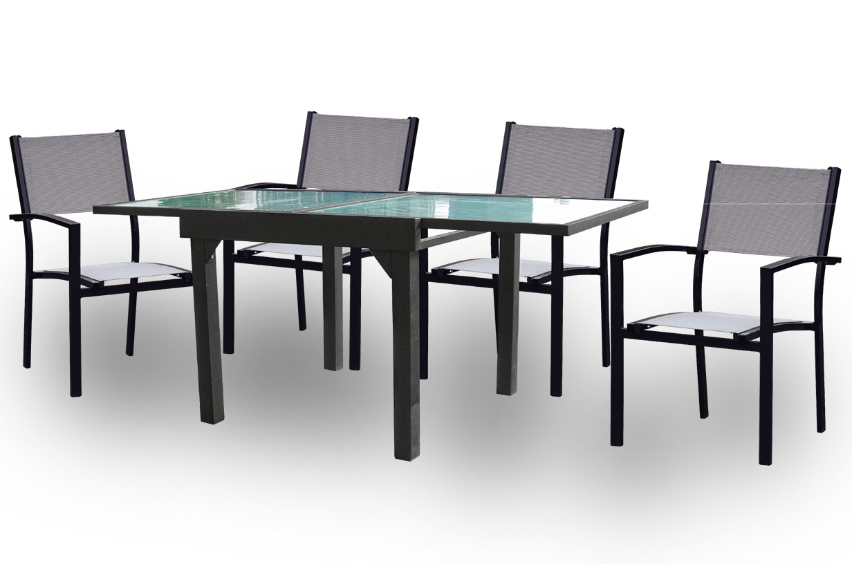 Conjunto mesa cuadrada extensible + 4 sillas mod. Cairo