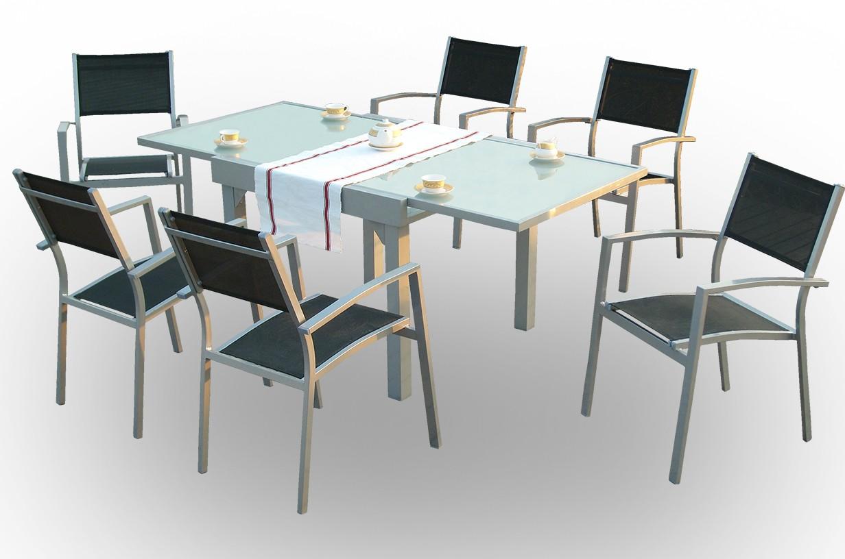 Conjunto mesa rectangular extensible + 6 sillas mod. Lima