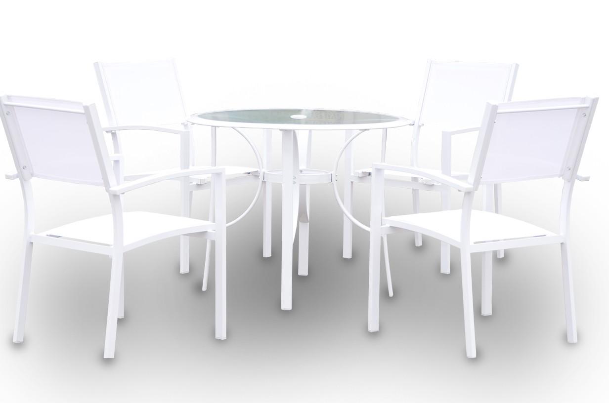 Conjunto de mesa circular + 4 sillas mod. Casablanca
