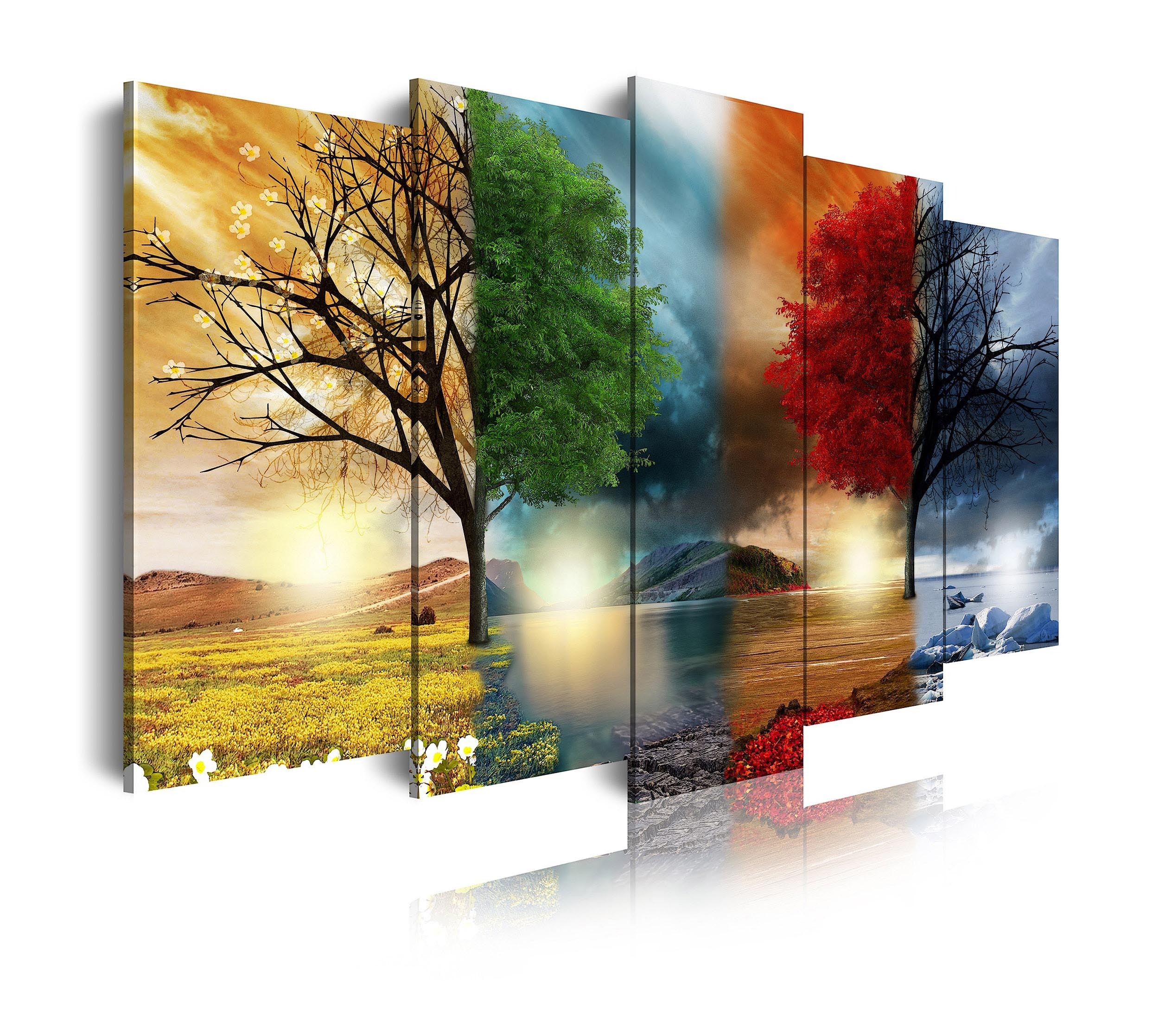 Cuadro de lienzo naturaleza cuatro estaciones