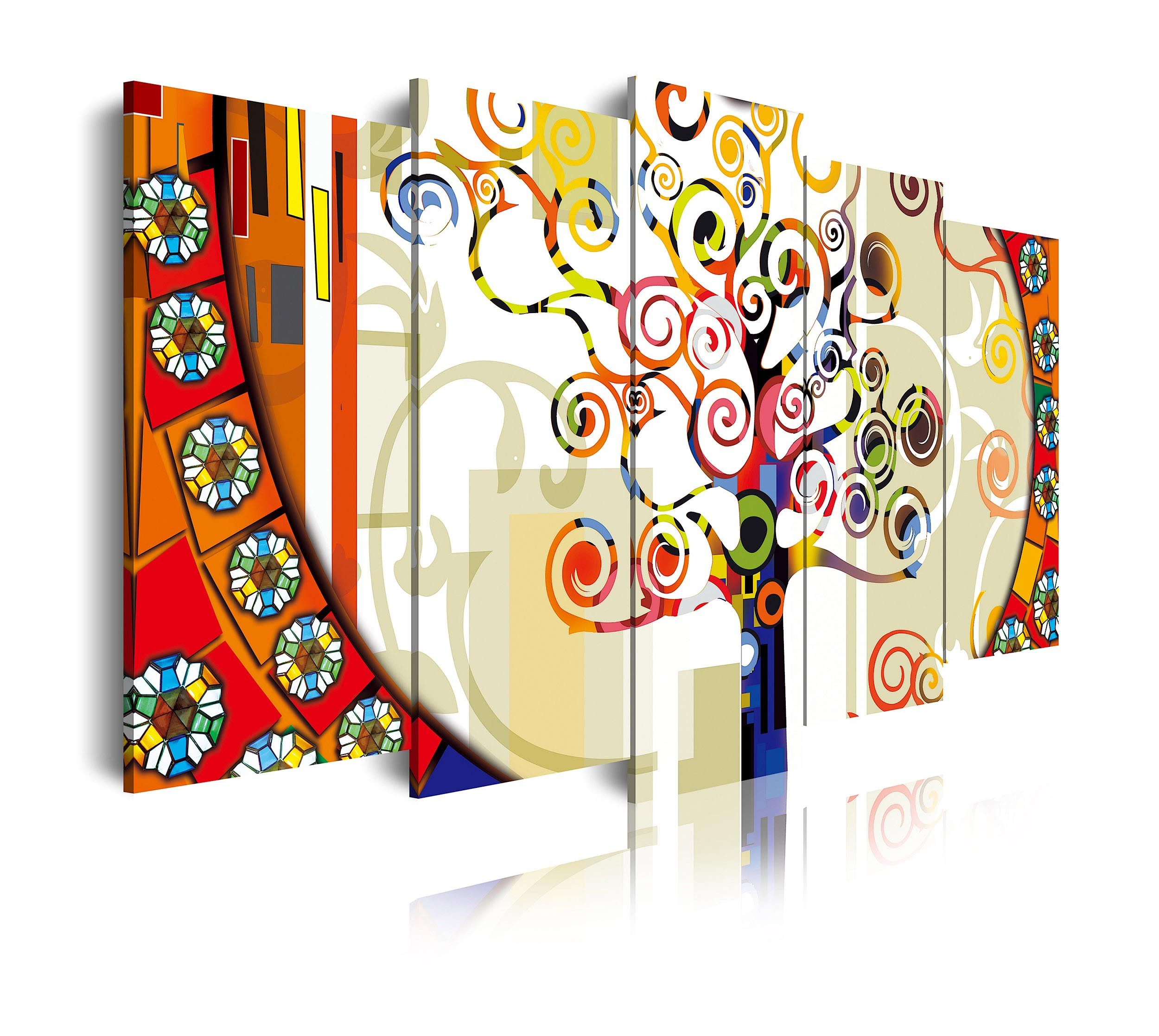 Cuadro de lienzo abstracto árbol de la vi colores