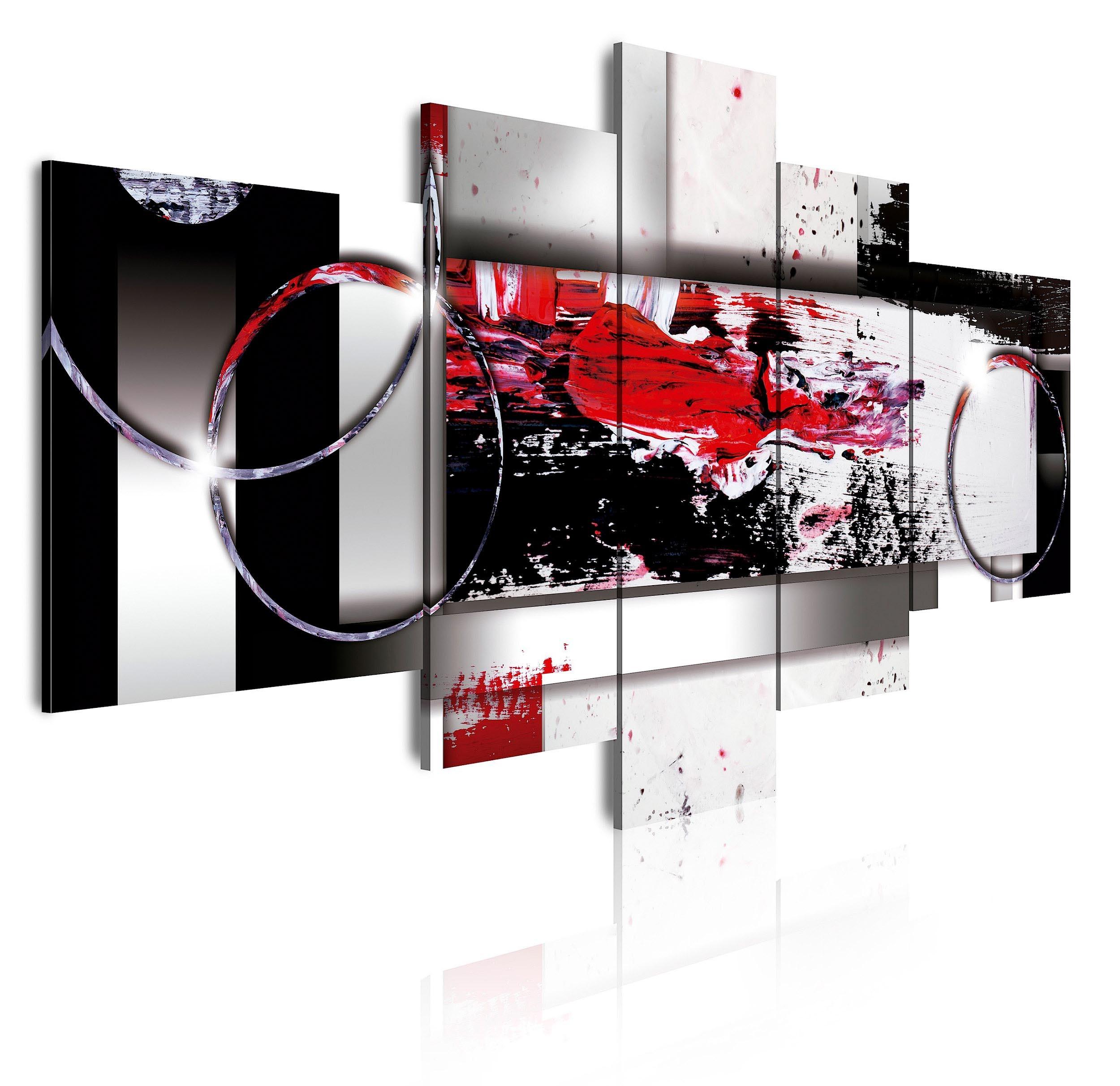 Cuadro de lienzo abstracto abstracto en tonos rojo, blanco y negro