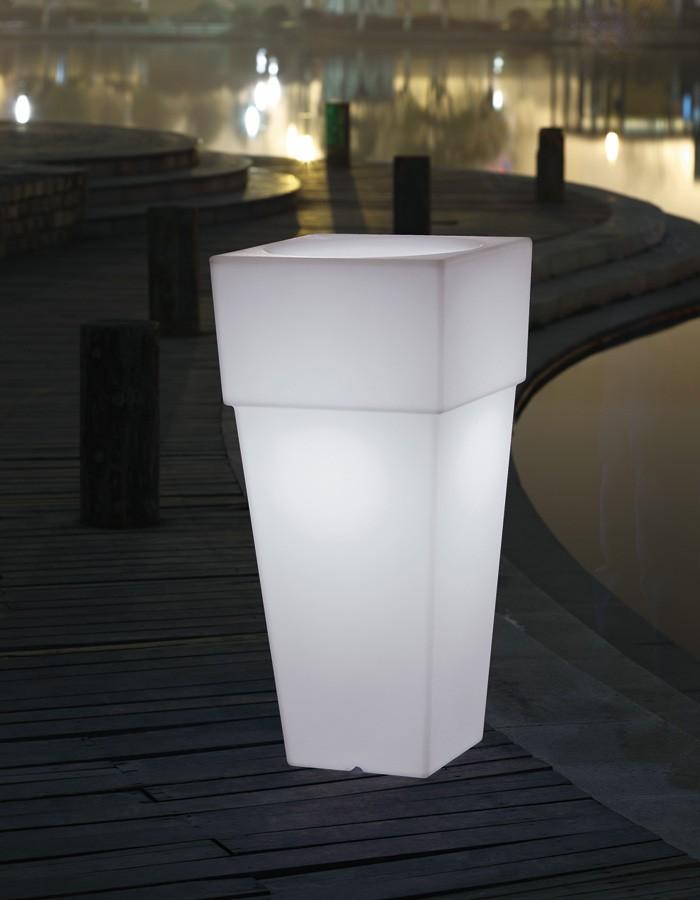 Macetero luminoso cuadrado blanco mod. Mónaco