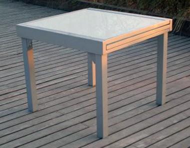 Mesa de jardín extensible cuadrada mod Lima gris plata