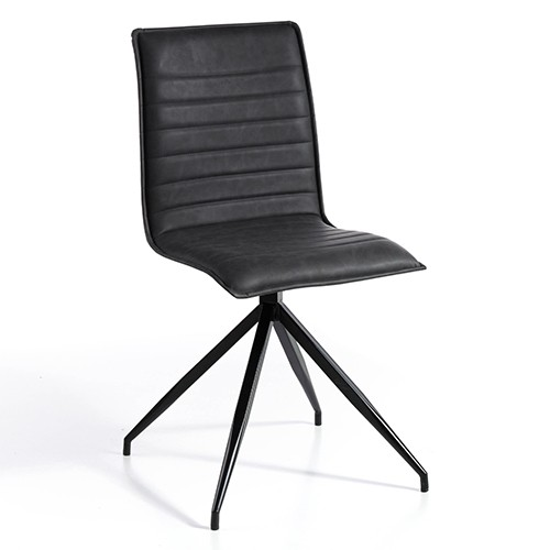 Set de 2 sillas en ecopiel gris oscuro