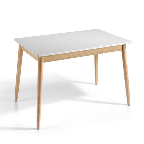 Mesa extensible tipo libro en blanco mate y roble