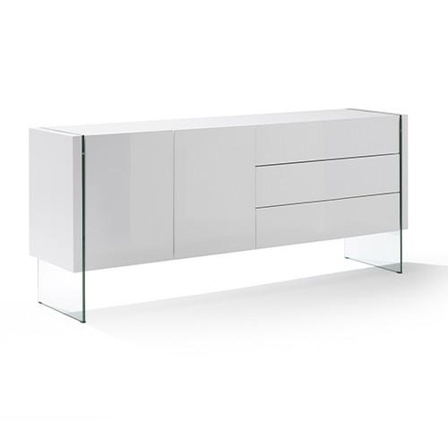 Aparador de diseño en blanco brillo con patas en cristal