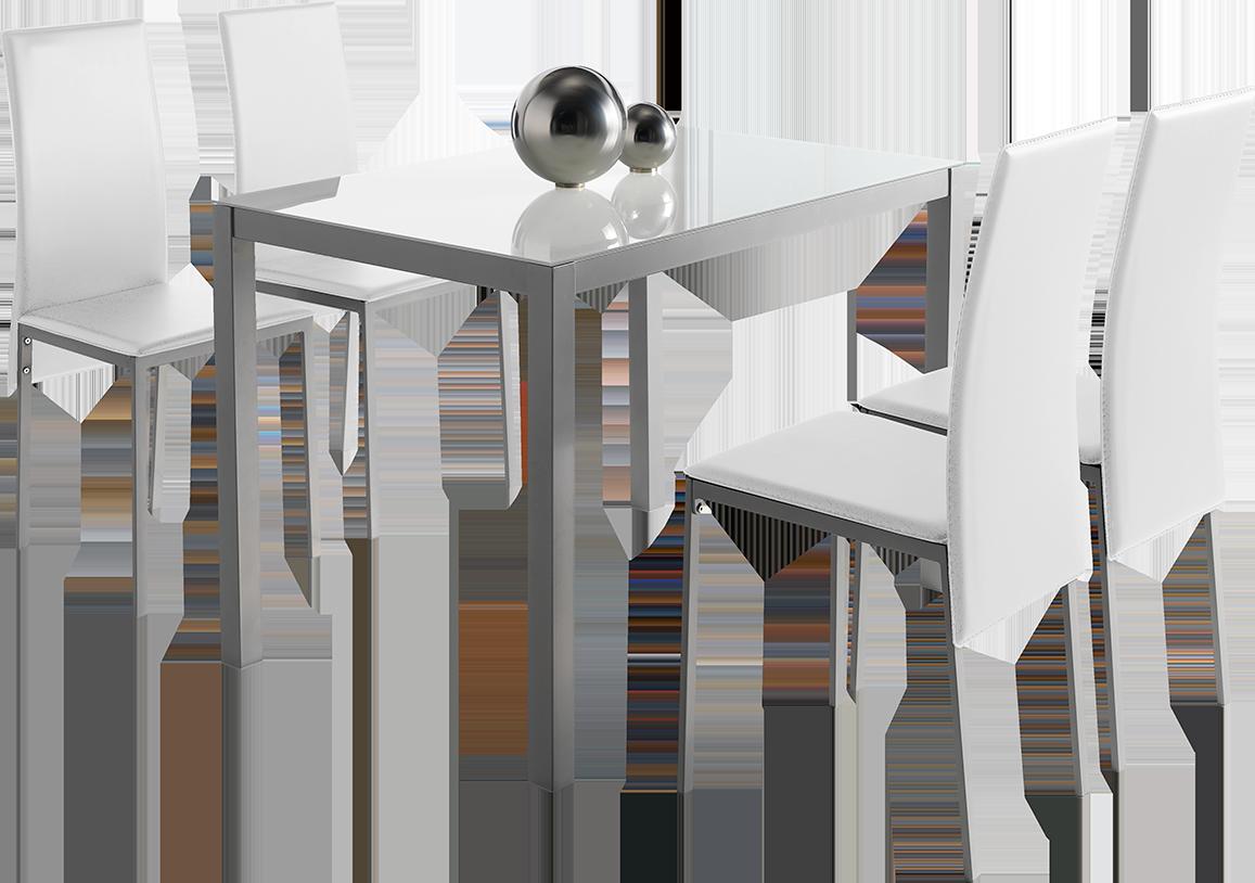 Conjunto De Mesa + 4 Sillas Mod. Melbourne Color Blanco