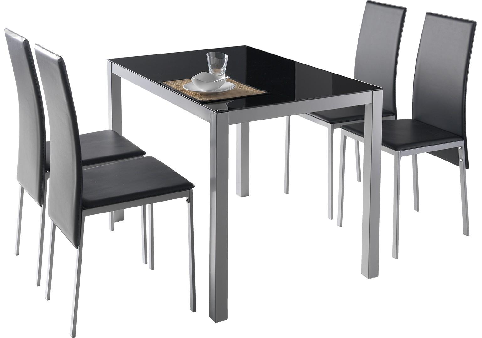 Conjunto De Mesa + 4 Sillas Melbourne Color Negro