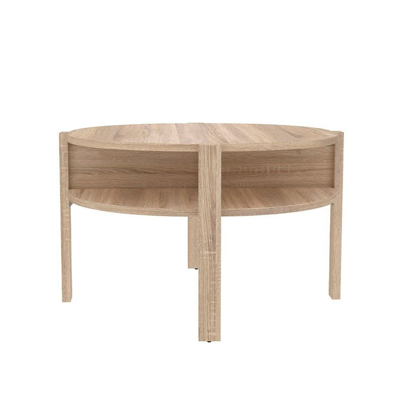 Mesa de centro circular en color roble claro mueble kit