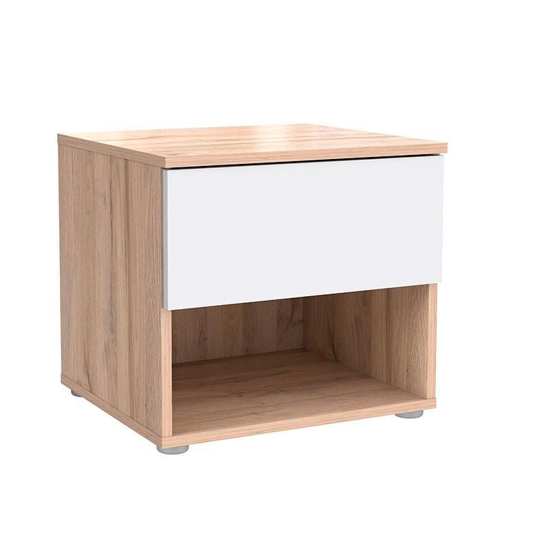 Mesita de noche color roble claro y blanco mueble kit