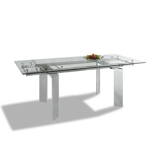 Mesa extensible de comedor con cristal trasparente mod. Perseo