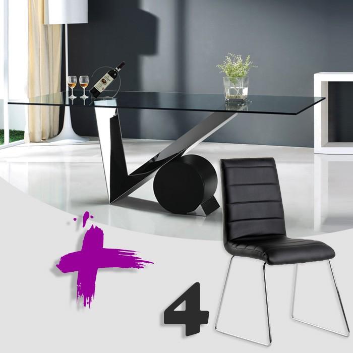 Conjunto de mesa transparente y sillas polipiel mod. Artemisa-Eris