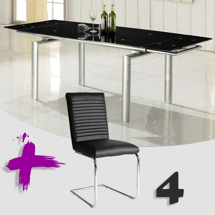 Conjunto de mesa extensible y sillas polipiel mod. Marte-Diana