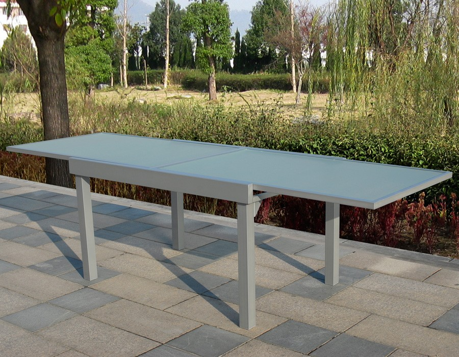 Mesa de jardín extensible rectangular mod. Lima gris plata