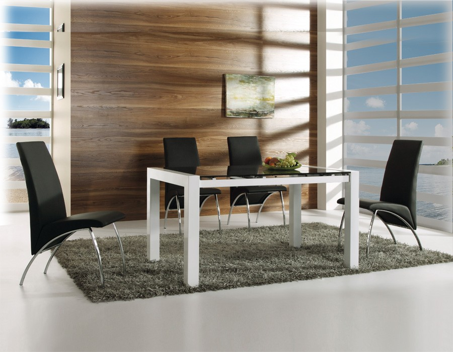 Conjunto de comedor con mesa extensible y sillas negras Mod. Viena-Trevi
