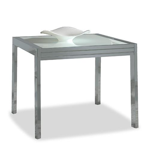 Mesa de comedor extensible cromado y blanco