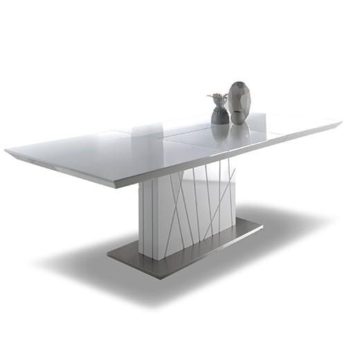 Mesa de comedor extensible en MDF blanco brillo
