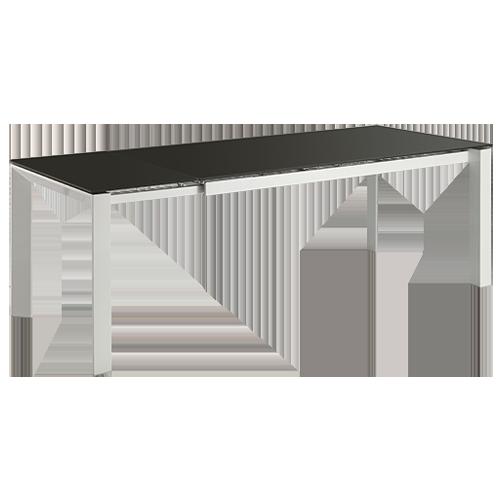 Mesa extensible cristal negro mate patas blancas