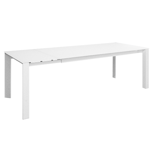 Mesa extensible cristal blanco mate y patas en blanco