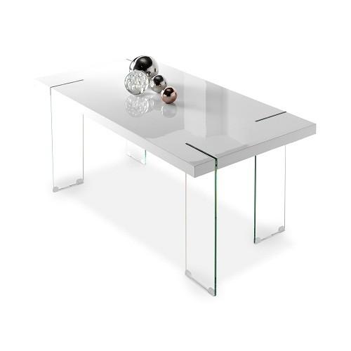 Mesa de comedor en MDF blanco y patas en cristal