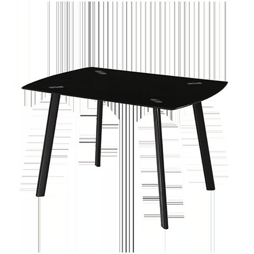 Mesa rectangular cristal negro y patas lacadas en negro