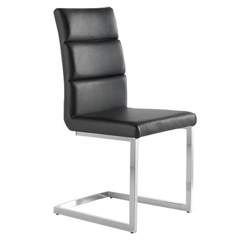 Pack 4 sillas tapizadas polipiel negra