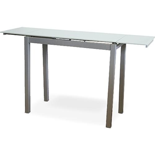 Mesa de cocina extensible estrecha color blanco