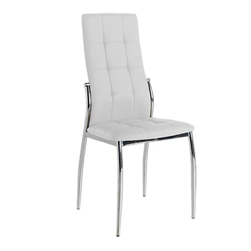 Pack 4 sillas tapizadas polipiel blanca con costuras decorativas