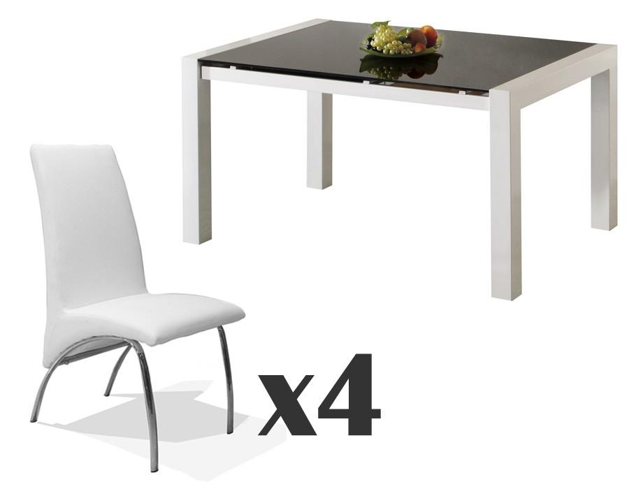 Conjunto de mesa extensible y sillas blancas Mod. Viena-Trevi