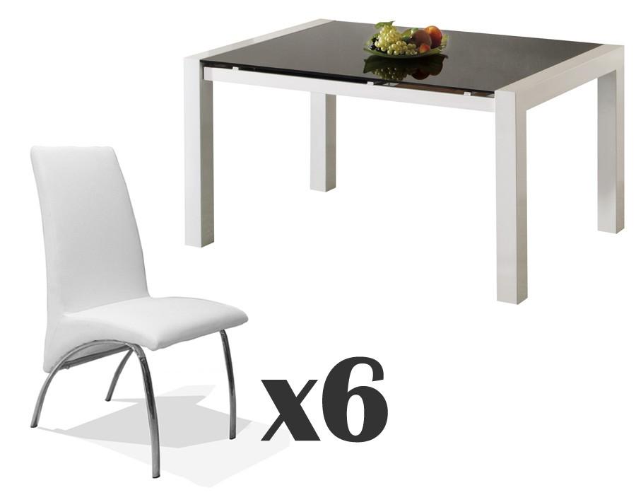 Conjunto de mesa extensible de comedor y sillas blancas Mod. Viena + Trevi x6