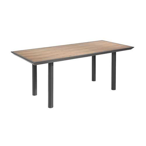 Mesa de comedor en MDF acabada madera nogal y patas gris brillo