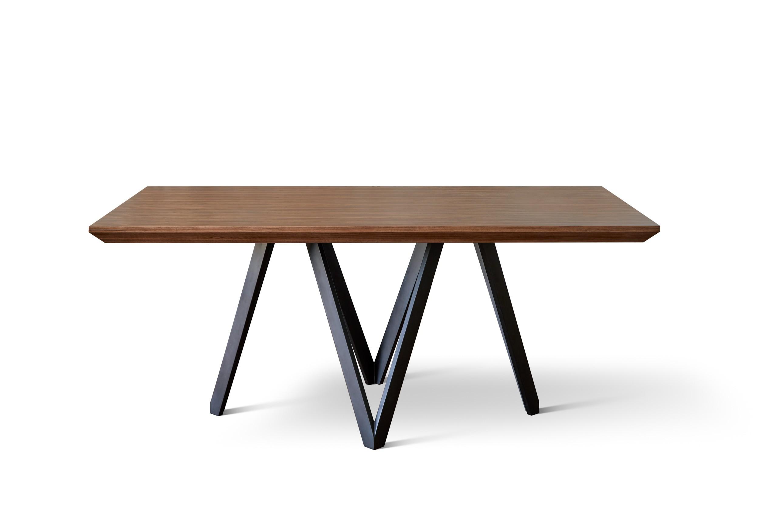 Mesa de comedor madera Nogal y patas en negro