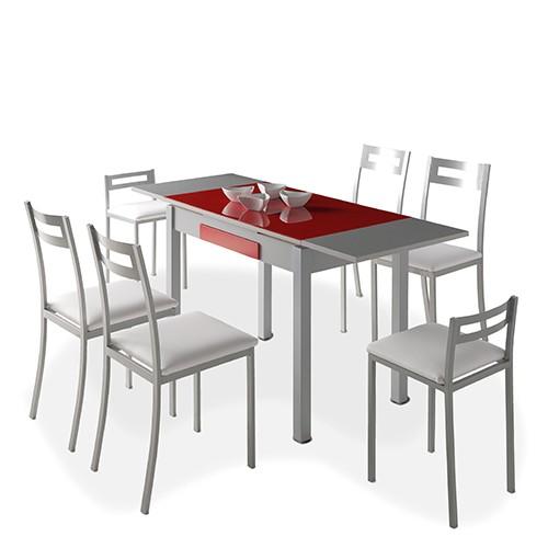 Mesa de cocina TETRA + 4 Sillas PAMIS + 2 Taburetes MOLI