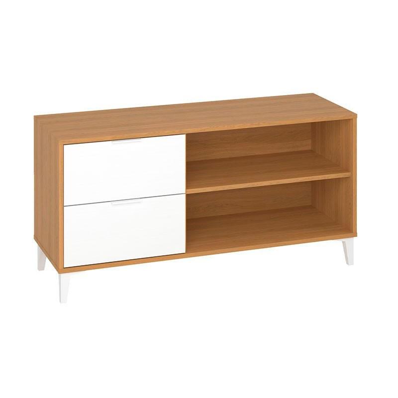 Mueble TV en roble claro y blanco mueble kit