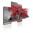Cuadro de lienzo moderno árbol rojo