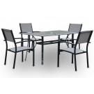 Conjunto de mesa rectangular fija + 4 sillas mod. Cairo girs antracita