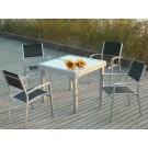 Conjunto mesa cuadrada extensible + 6 sillas mod. Lima gris plata