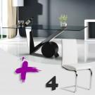 Conjunto de mesa transparente y sillas polipiel mod. Artemisa-Hermes