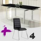 Conjunto de mesas extensible y sillas en polipiel mod. Marte-Eris