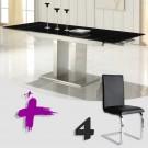 Conjunto de mesa cristal negro y 4 sillas mod. Febea-Hermes