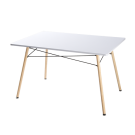 Mesa fija rectangular en MDF blanco brillo