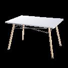 Mesa fija rectangular en MDF blanco brillo